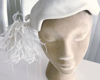 Fun and Fabulous Vintage Hat with Huge Marabou Feather Pouffe!  -- 1950's