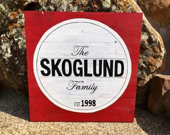 Family Established Wooden Sign
