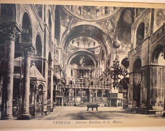 Vintage Photo - Venice - Interior of St Marks Basilica 1928 duotone photo postcard - beautiful view - gift for travelers, use for scrapbook