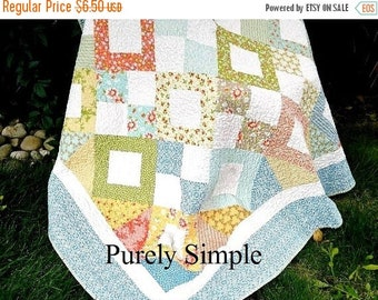 ON SALE PDF Quilt Pattern Throw Twin Quilt Layer Cake FriendlyDownload Now Purely Simple Pdf Pattern