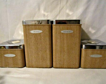 Kitchen Containers, Kitchen Canisters, Retro Kitchen Coffee Tea Flour Sugar Canisters, Mid-Century Kitchen Canisters