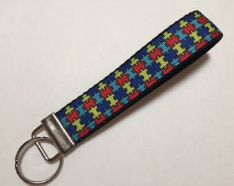 Puzzle Pieces for Autism Awareness Key Fob Keychain wristlet