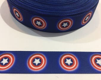 3 Yards of Ribbon - Inspired by Captain America Superhero 7/8 inch Wide