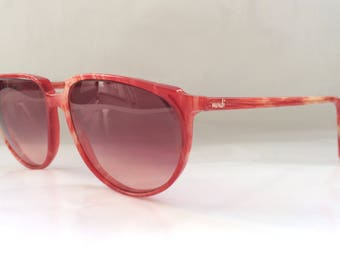 80s Vintage German Cat Eye Frame Red and White Stripe Pattern Womens Sunglasses