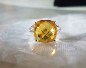 Sterling Silver 925 3.66ct Ametista Madeira Yellow Citrine Ring Size 5