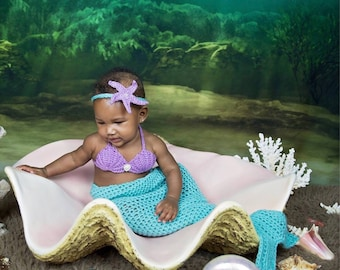 Baby Mermaid Costume - Baby Mermaid Outfit - Sea Shell Bra - Mermaid Outfit - Baby Costume - Mermaid Blanket - Mermaid Tail Blanket