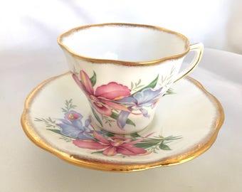 Vintage Rosina England Floral Bone China Tea Cup and Saucer