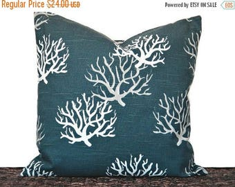 Christmas in July Sale Blue Sea Coral Pillow Cover Cushion Navy White Gray Coastal Decorative 18x18