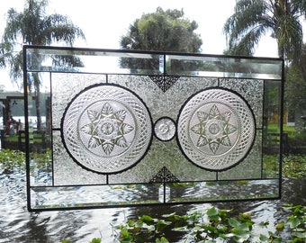 Stained Glass Plate Panel Window Transom,  Vintage Crystal Luminarc Cris D'Arques Plates, Antique Stained Glass Valance, Large Window Art