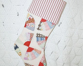 Quilt Stocking | Sweet Grandmother's Fan Vintage Quilt Christmas Stocking with Vintage-Style Red and Cream Ticking Cuff — Last One!