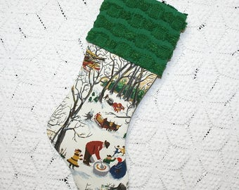 "Grandma Moses ""Sugaring Off"" Barkcloth Stocking | Dark Green Vintage Chenille Cuff | Vintage Barkcloth Stocking | Maple Sugar Scenes"