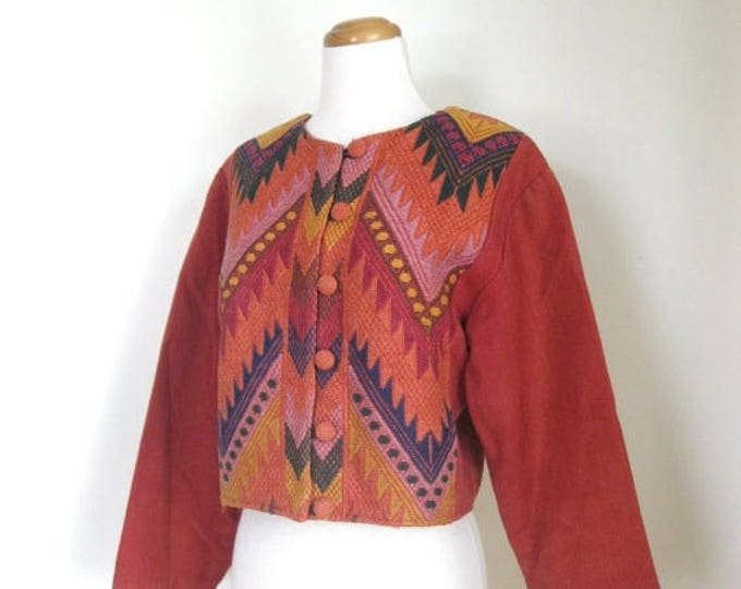 WINTER SALE Vintage 70s Ethnic Huipil crop coat / chevron woven embroidered / Guatemalan /  Boho jacket