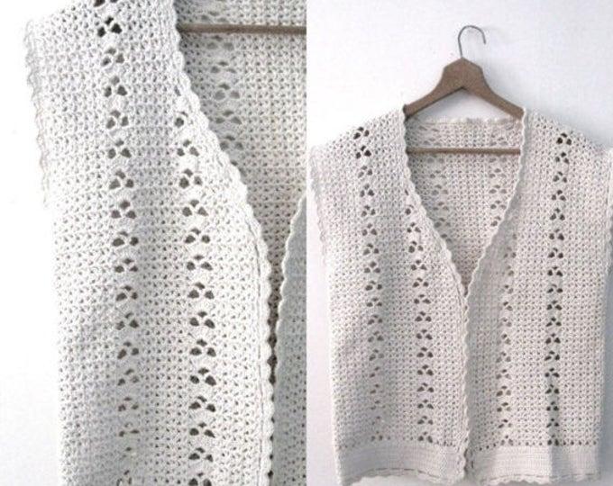 WINTER SALE Vintage 60s crochet vest / Handcrafted Bohemian Folk  vest /  Natural cotton crochet waistcoat vest top