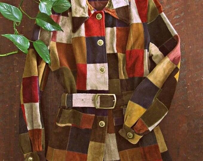 WINTER SALE Vintage 60s suede patchwork jacket / Hippie Boho Folk multi color suede patch MOD coat