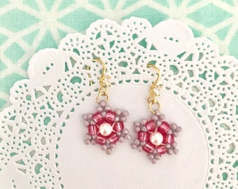 Pink purple snowflake lightweight earrings for everyday or special occasions. Pink wedding snowflake jewelry for brides and bridesmaids
