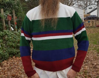 Mens Sweater, 80s Sweater, Colorblock Sweater, 80s Costume, Vintage Sweater, Vintage Costume, Internationalist, Striped Sweater Size M