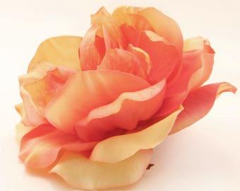1 Jumbo Salmon Yellow Orange Medley Garden Rose  - Artificial Flower, Silk Flower Heads