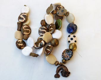 African Necklace, African Ceramic Kazuri Beads, Baoulé Ashanti Bronze, extra long necklace