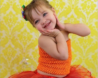 "new Girls girl baby child 7 Inch lined Crochet tutu top tube 1-3 years DIY flower girl wedding dress birthday summer 7"" orange"