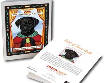 "Black Labrador Cards  ""Saint of Tennis Balls"" 6 Small Greeting Cards by Krista Brooks"