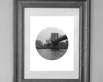 Brooklyn Bridge Printable / NYC Photography / Circle New York Wall Art / INSTANT DOWNLOAD