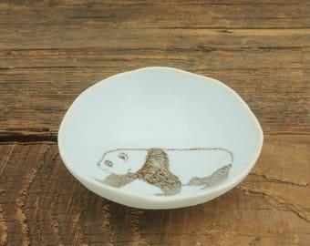 Panda Woodgrain Dish by SKT Ceramics. Hand built porcelain dish, jewelry dish, olive oil dish, tapas dish by SKT Ceramics