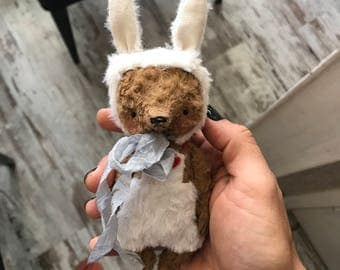 MADE TO ORDER 4inch Artist Handmade Miniature Pocket Sized Bunny Bear by Sasha Pokrass