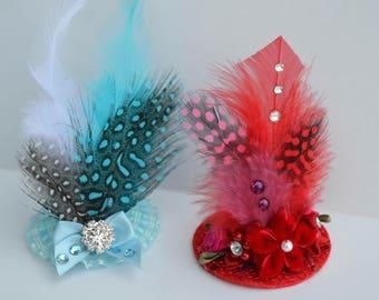 Dog Hair Clip Hat - Mini Dog Feather Hat - Wedding