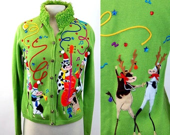 Amazing Christmas sweater Ugly tacky party cardigan with cows and reindeer playing musical instruments Size M