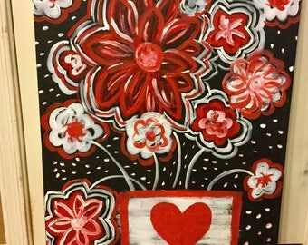Red White and Black Floral Flowers in Acrylic