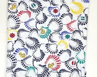 Nautical Seashell Wamsutta Vintage Novelty Fabric Primary Colors 1.5 Yards Navy Blue Red Yellow Teal Anchor Ship Shell Sail Boat
