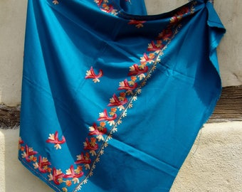 "Teal Blue/Turquoise Pashmina embroidered shawl/stole. 84 x 40""  Kashmir.  Pure wool."