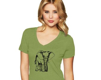 Elephant Shirts For Women, Ladies Cotton Sporty Vneck Tshirt, Zoo Animal Tshirt, Wild Safari, Hand Printed, Screenprinted Shirt Short Sleeve