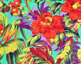 Philip Jacobs OOP, rare, vhtf, Tropical, Emerald, Kaffe Fassett OOP, early Westminster large repeat botanical fabric, by the yard