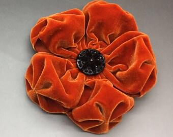 Large Deep Orange  Velvet Puffy Flower Applique