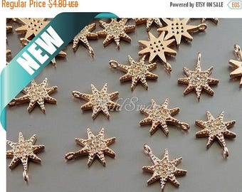 10% SALE 2 rose gold star burst CZ charms, cubic zirconia sun star pave pendants, rose gold jewelry P959-Brg