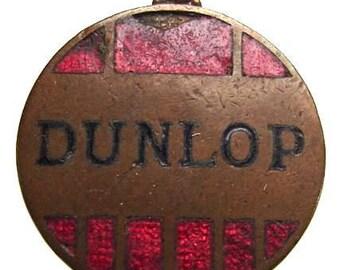 BRITISH DUNLOP TIRES old British Dunlop Tires logo enamel copper medal Charm Medallion