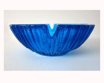 vintage BLENKO blue #632 ashtray