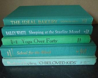 Teal Blue Green Books for Decor - Wedding Centerpiece - Vintage Book Stack - Instant Library - Bookshelf Decor
