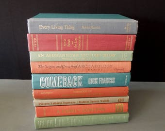Coral Blue Green Colorful Books - Home Staging Bookshelf Decor - Book Themed Wedding Vintage Books for Decor