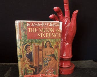 Moon and Sixpence Vintage Novel By Somerset Maugham - 1942 Vintage Book Original Dust Jacket - Literary Gift