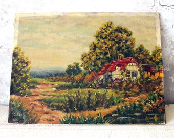 Oil on Board Country Cottage Scene Painting - Oil Painting Scenic Countryside