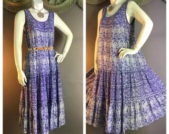 1970s vintage dress 70s PURPLE INDIA GAUZE sleeveless tank hippie hippy festival beach boho dress