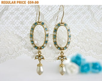 20% OFF - CIJ SALE Blue wedding earring, Blue wedding, Blue earrings, Wedding earrings, Blue chandelier earrings, Chandelier earrings bridal