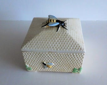 Crown Devon China Vintage Lidded Honeycomb Box Queen Bee - 1930's