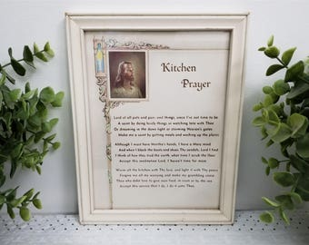 "Vintage Kitchen Prayer, Head of Christ by Warner Sallman, framed under glass. Creamy Off White, neutral ""Lord of all pots and pans"" prayer."