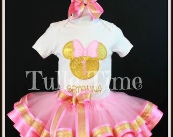 Pink and Gold Minnie birthday Bodysuit shirt ribbon trim tutu dress Personalized Name age