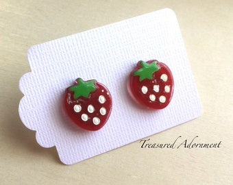 Strawberry Earrings, Stud Earrings, Resin Strawberry, Thank you gift, Gift Under 10, back to school, Kawaii Jewelry, Fruit earrings
