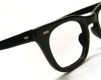 Vintage USS Black Horned Rim Eyeglasses
