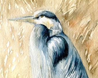 5 x 7 Original Watercolor - Heron in the Tall Grass